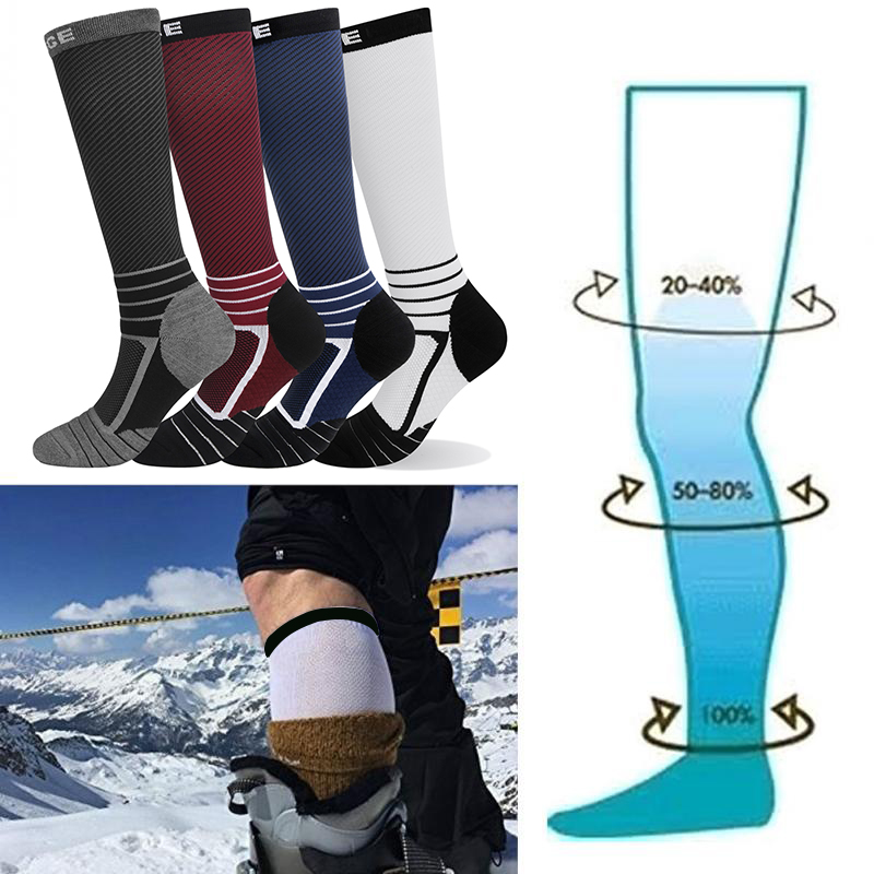 YUEDGE Men Women High Quality Pressure Varicose Vein Knee high Leg Support Stretch Compression Socks Running Sports Socks