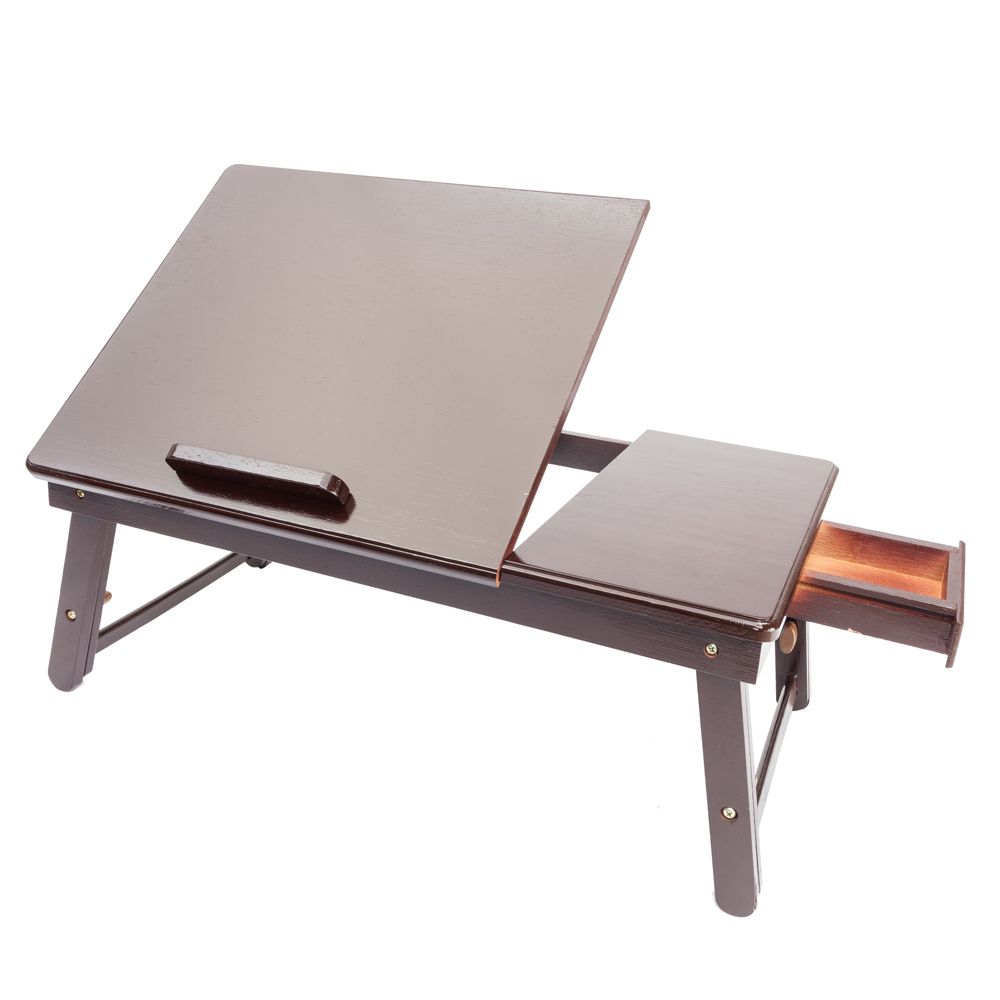 【US Warehouse】Retro Plain Design Adjustable Bamboo Lap Desk Tray Dark Coffee Free Shipping USA Drop Shipping