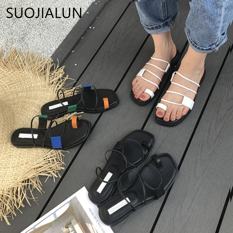 SUOJIALUN Brand Design Women Slippers Casual Open Toe Narrow Band Flat Slippers Summer Outdoor Beach Flip Flops Sandalias