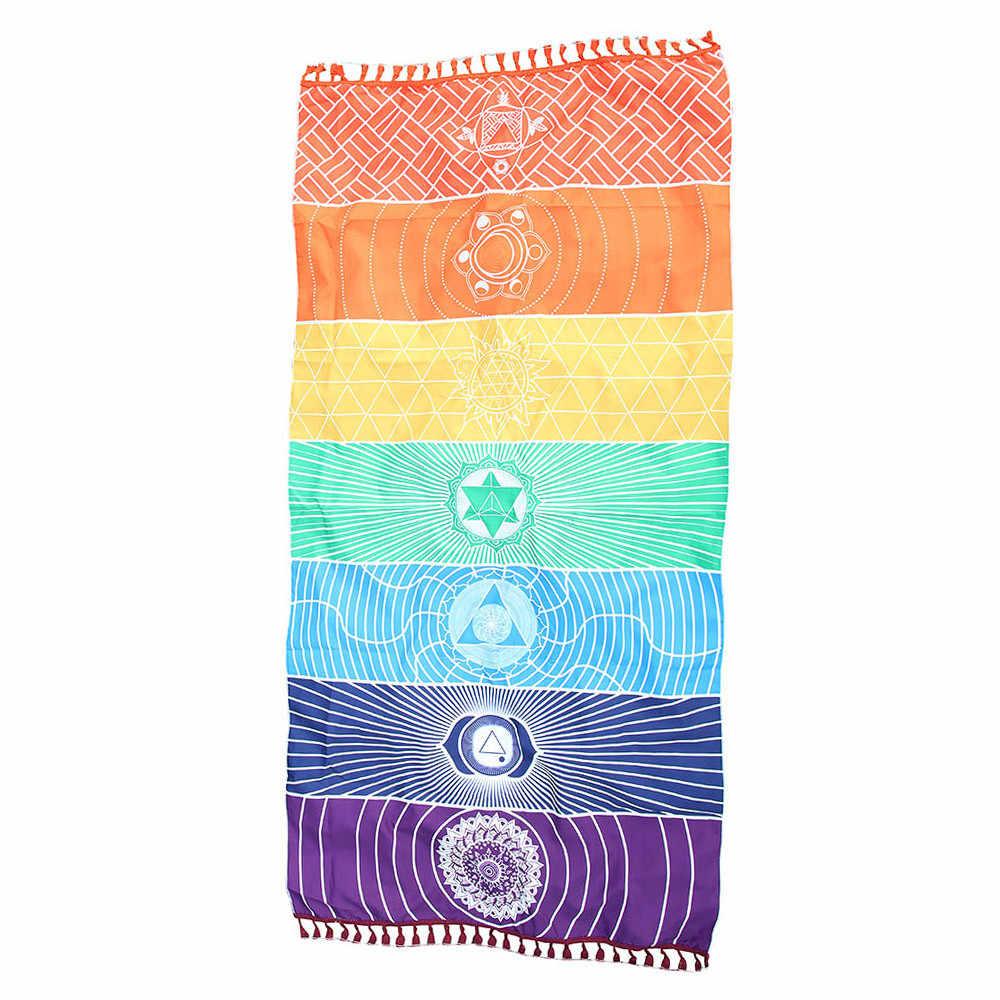 Alfombra de playa de arcoíris caliente manta de Mandala tapiz colgante de pared Toalla de rayas alfombra de Yoga 7 Chakra tapiz de colores Toalla de playa de verano