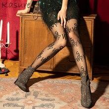 KASURE ile yazıtlar şeffaf mektup tayt dövmeler seksi şeffaf naylon kadınlar için tayt desen külotlu çorap