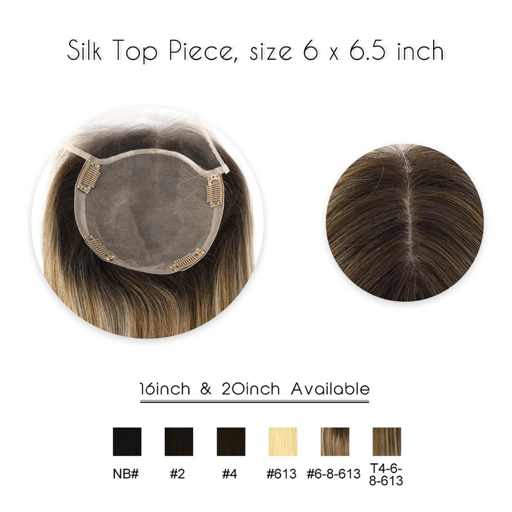 "Vlasy 16"" 20"" 6*6.5"" Silk Base With Clip In Remy Hair Toupee Piece 150% Density Virgin Cuticle Straight Human Hair Topper Wig"