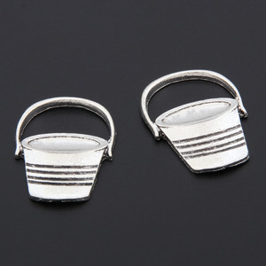 10pcs Antique Silver Bucket Oval Shaped Pail Charms Tool Pendant Bracelet Necklaces Jewelry Wholesale A3344