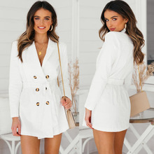 2019 Hot style sexy folding collar open-front button waist knitted polyester (polyester) trench coat cheap NoEnName_Null Solid Full WOMEN MANDARIN COLLAR Adjustable Waist Long Double Breasted High Waist JERSEY Sexy Club dacron