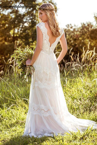 Image 3 - Vestido Novia Lace Bohemian Wedding Dresses 2020 V Neck Backless Illusion Country Mariage Gowns Sweep Train Simple Bride Dresses