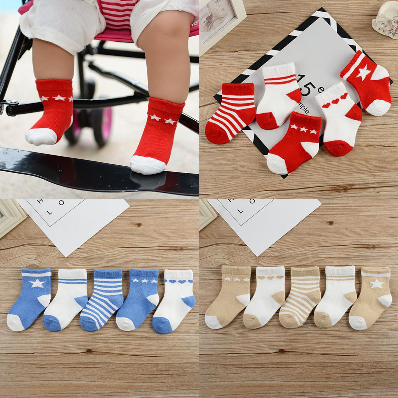 5Pair/lot 2019 New 0-1 Year Old Newborn Baby Socks Warm Boys And Girls Baby Cotton Baby Foot Socks