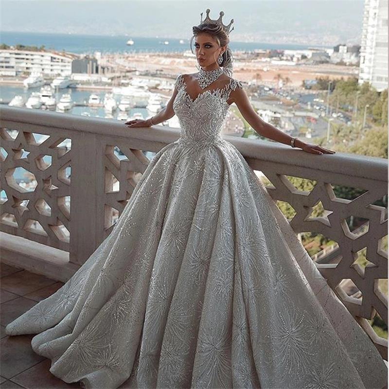 Vestidos De Novia 2020 Long Wedding Dresses Beads Crystal Bridal Gowns Wedding Dress Women Dresses Mariage Bride Dresses