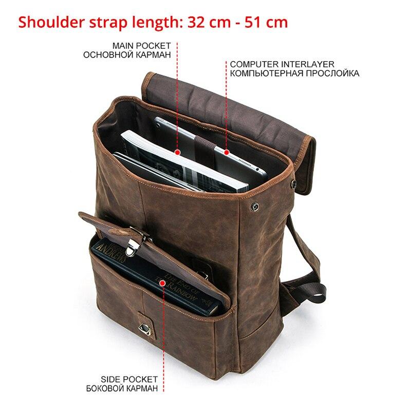 Masculino genuíno crazy horse couro portátil mochila de viagem de negócios vintage saco para 13.3 portátil e notebook - 3