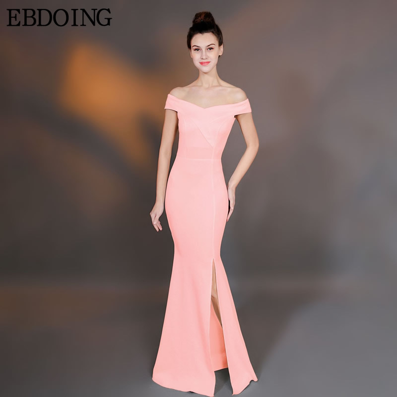Robe De Soiree Bridesmaid Dresses Mermaid Women Long Floor Length Off The Shoulder With Split  Prom Wedding Party Gown