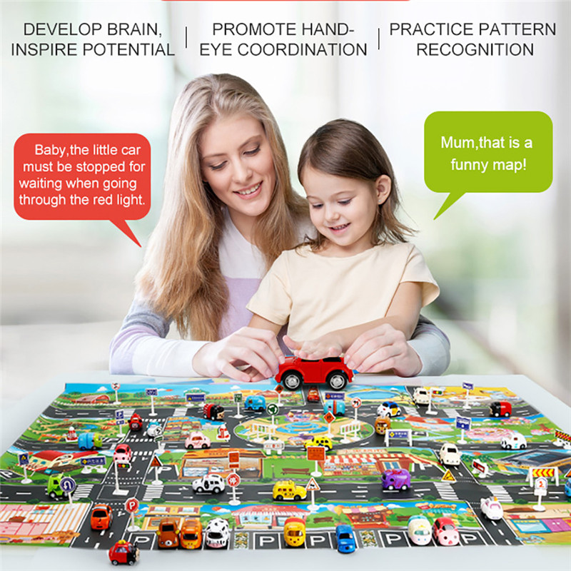 Kids Play Mat City Road Buildings Parking Map Game Scene Map With Traffic Sign Children's Traffic Game Pad #2O31