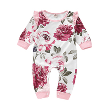 Rose Print Baby Romper Girls Infant Rompers Winter Warm For Newborn Clothes 0-2 Years Cotton Ruffle Sleeve Kids Jumpsuits D35 newborn winter baby rompers girls windproof rompers children warm outdoor rompers kids jumpsuits