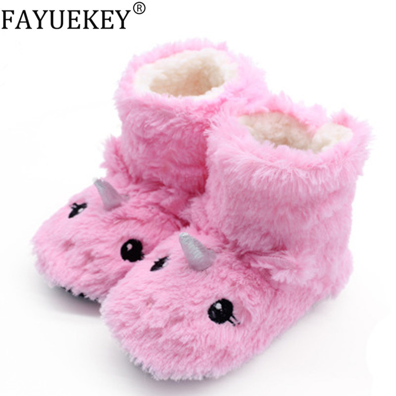 Kids Unicorn Slippers Girls Baby Home Slippers Winter Warm Plush Cute Cartoon Animal Pantuflas Unicornio Non-slip Faux Fur Shoes
