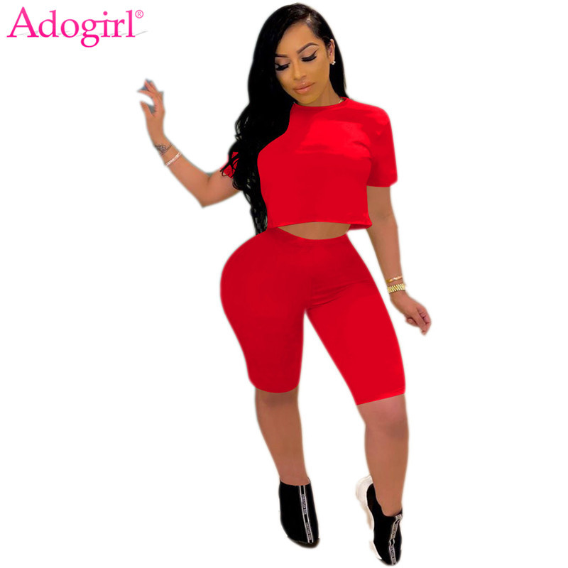 Adogirl S-XXL Solid Casual Two Piece Set Women Summer Tracksuit Short Sleeve T Shirt Crop Top Skinny Shorts Fitness Home Suit