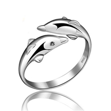 PISSENLIT Simple Adjustable Silver Ring Dolphin Ring Women Jewelry 2019 Couple Trendy Wedding Rings Women Accessories Love Gifts цена