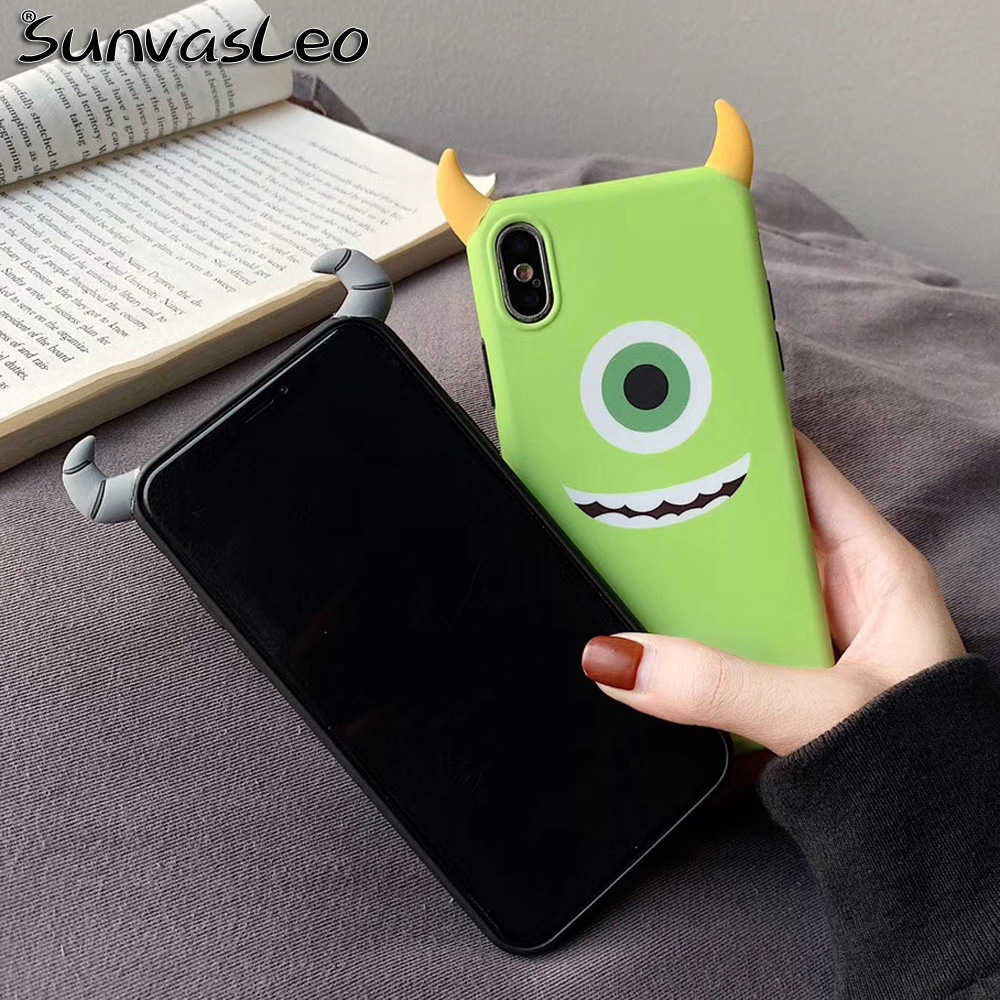 For iPhone X XS XR XS Max For iPhone 6 6s 7 8 Plus New 3D Cartoon Soft IMD Case Mobile Phone Back Cover Cool Shell Monsters in Fitted Cases from Cellphones Telecommunications
