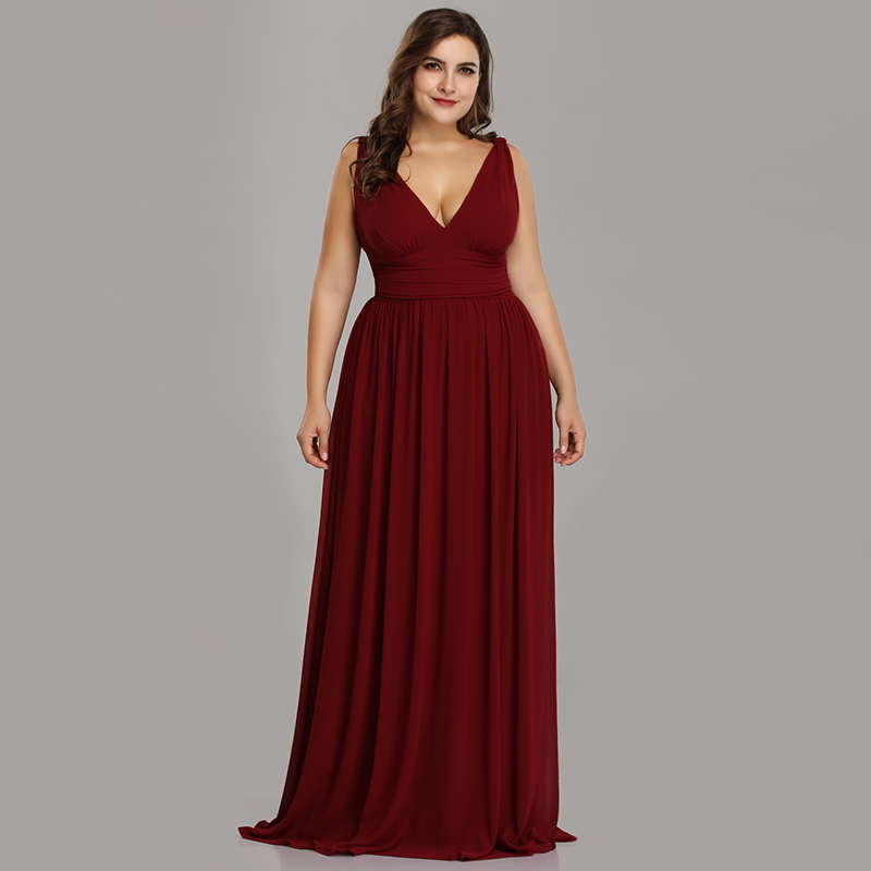 A-line Floor-length Plus Size   Bridesmaid     Dress   2020 Simple Chiffon V-neck Pleated   Dress   for Party