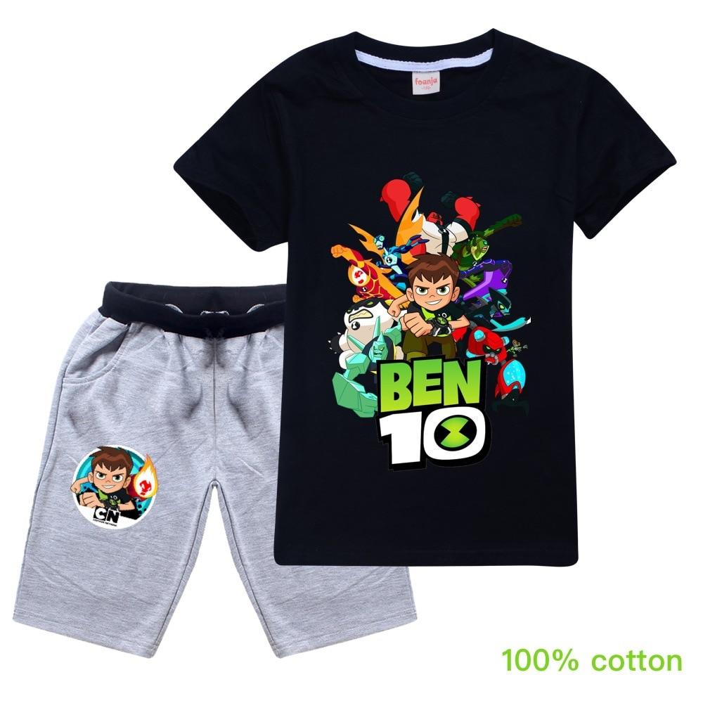 Ben10 2019 Summer Autumn Boys Pajamas Suits Short Sleeve Kids Pijama Children Pyjama Sets Boys Sleepwear Bottom Clothing Unisex