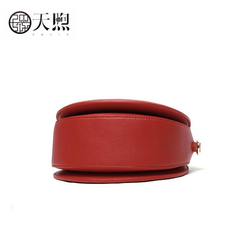 Pmsix mulheres saco de couro genuíno moda redonda saco bordado real bolsas bolsas de luxo sacos de designer famosa marca wome - 6