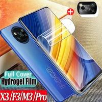 Suave Película de hidrogel Poko X3 Pro Poco F3 Protector de pantalla cubierta completa Anti-rayado no cristal película frontal Xiaomi Poco X3 NFC Poco M3 Pro 5G Screen Protector Pocco X 3 F2 Pocophone F3 X3 Pro