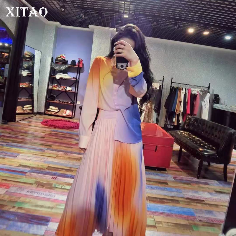 XITAO Women Fashion New Single Breast Print Top Loose Pleated Elastic Waist Loose Skirt 2020 Spring Two Piece Set New DMY3226