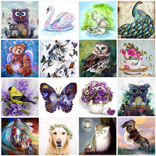 5D DIY diamond painting painted cartoon animal flower mosaic embroidery cross stitch crafts ornaments