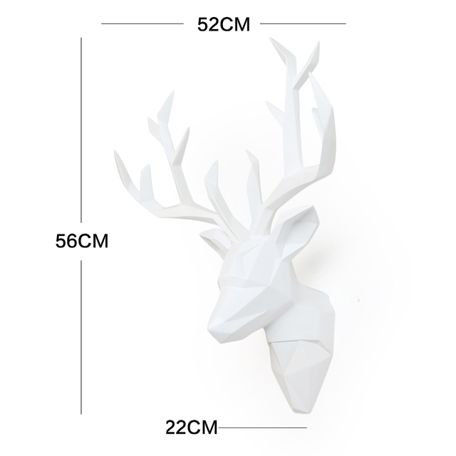 Large 3D Deer Head Statue Sculpture Decor Home Wall Decoration Accessories Animal Figurine Wedding Party Hanging Decorations 5