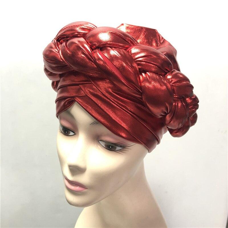 Красный Aso Oke Gele Африканский головной убор уже изготовленный Gele головной убор женская шляпа автоматический головной убор aso oke gele-AC30