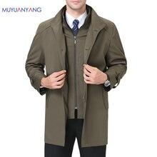 Chaquetas informales para hombre Mu Yuan Yang, primavera y otoño, gabardina larga para hombre, novedad de 2018, gabardinas y chaquetas con cremallera