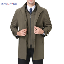 Mu Yuan Yang Business Casual Men Jackets Spring and Autumn Mens Long Trench Jackets 2018 New Zipper Trench Coats & Jackets