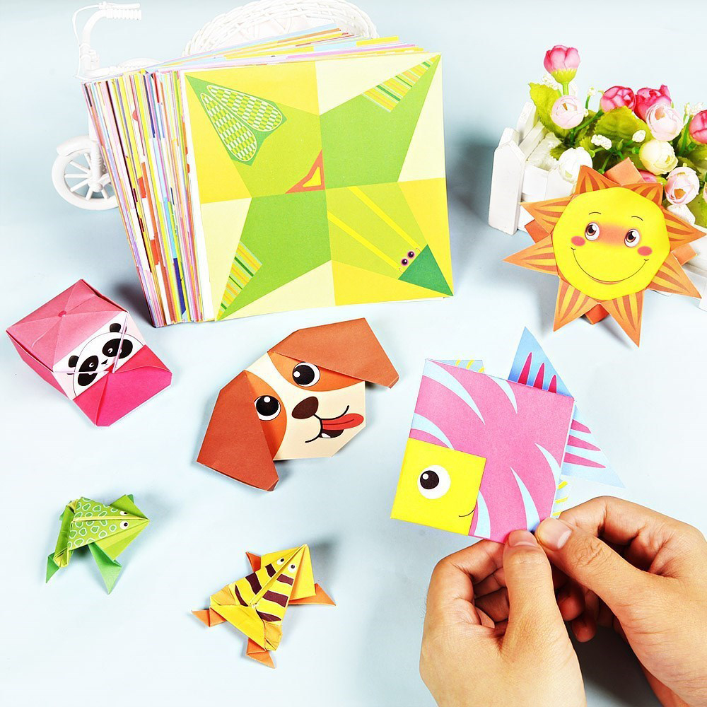 54 Pages Montessori Toys DIY Kids Craft Toy 3D Cartoon Animal Origami Handcraft Paper