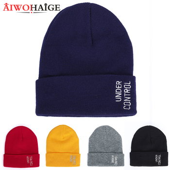 knitted beanies men casual letter knitting skullies couple hats AIWOHAIGE 2020 New winter cold women embroidery