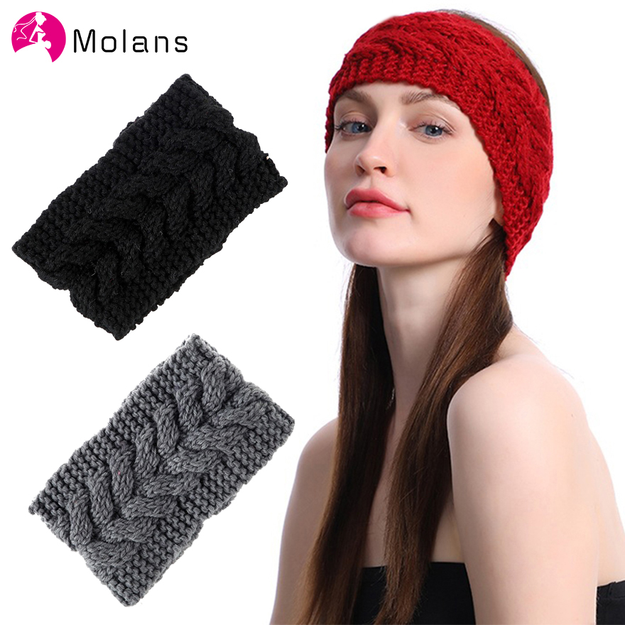 Molans Winter Warm Solid Knitting Headbands For Women Lady Wool Crochet Headwear Wide Bandana Turban Hair Accessories