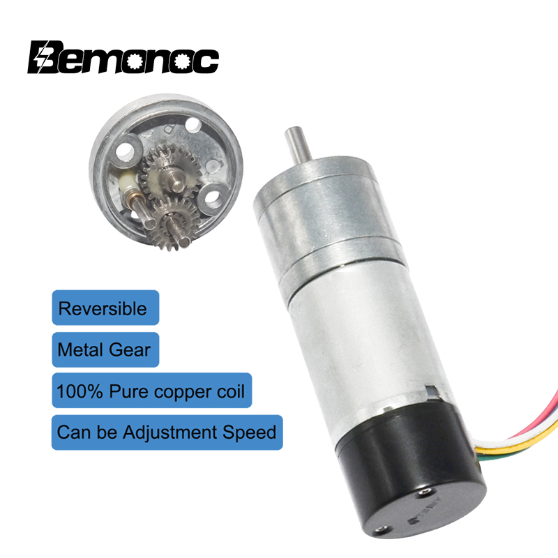 Bemonoc DC 12V 24V Gear Motor With Dual Channel Encoder 10/15/25/35/60/80/130/150/300/600rpm Speed Electric Motor For DIY Hobby