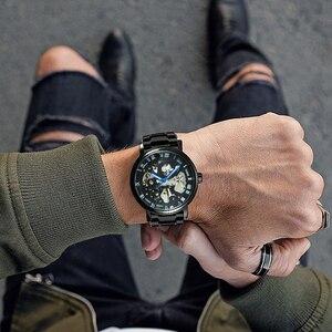 Image 4 - GEWINNER Offizielle Casual Uhren Männer Skeleton Mechanische Uhr Stahl Bügel Römischen Anzahl Business Top Marke Luxus Männer der Armbanduhr
