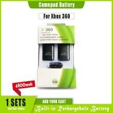 Аккумуляторная батарея 4800 мАч 2 шт. + USB-кабель для зарядного устройства для XBOX 360, беспроводной контроллер, аккумулятор для джойстика Ni-MH