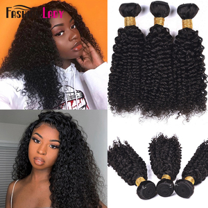 Image 1 - Fashion Lady Pre colored Brazilian Kinky Curly Bundles Hair Weave Human Hair Bundles Natural Color 3/4 Pieces Curly hair Bundl
