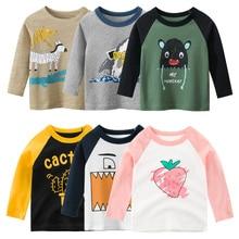 Unisex Baby's Boy Girl T-shirt Cotton Cartoon Autumn Kids Clothes Cactus Stripe Strawberry Tops Long Sleeve O-neck Print T Shirt