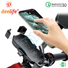 Deelife Motorrad Motorrad Handy X-Grip Halter für Moto Motor Mobile Smartphone Wasserdichte USB QC 3,0 Qi Wireless ladegerät