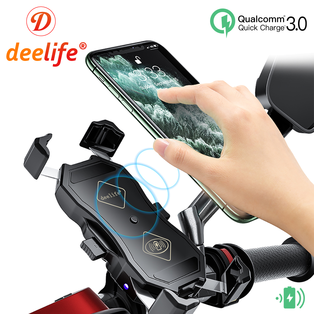 Deelife Motorcycle Mobile Phone Holder Waterproof X-Grip Mount with QC 3 0 USB Qi Charger for Scooter Motor Motorbike Support