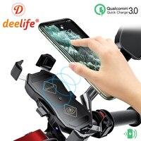 Deelife-Soporte de teléfono para motocicleta, sostenedor de teléfono para Moto, x-grip, teléfono inteligente, Cargador USB, carga inalámbrica, teléfono móvil