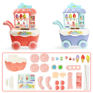 Image 4 - Funny Supermarket Shopping Pretend Play Kitchen Toy for Girls Children Educational Toys Ice Cream Cart with Light and Music