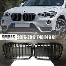 BMW 2016 2017 X 시리즈 F48 F49 X1 용 한 쌍의 반짝이는 광택 블랙 프론트 그릴