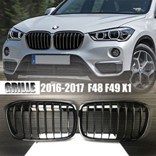 One Pair Shiny Gloss Black Front Grille For BMW 2016 2017 X Series F48 F49 X1