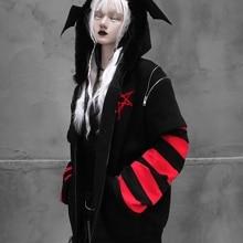 Retro Black Jacket Zip up Flocking Spring Hooded Jackets Women Gothic Bat Anime Print Embroidery Sweat Coat Punk Rave Loose Coat