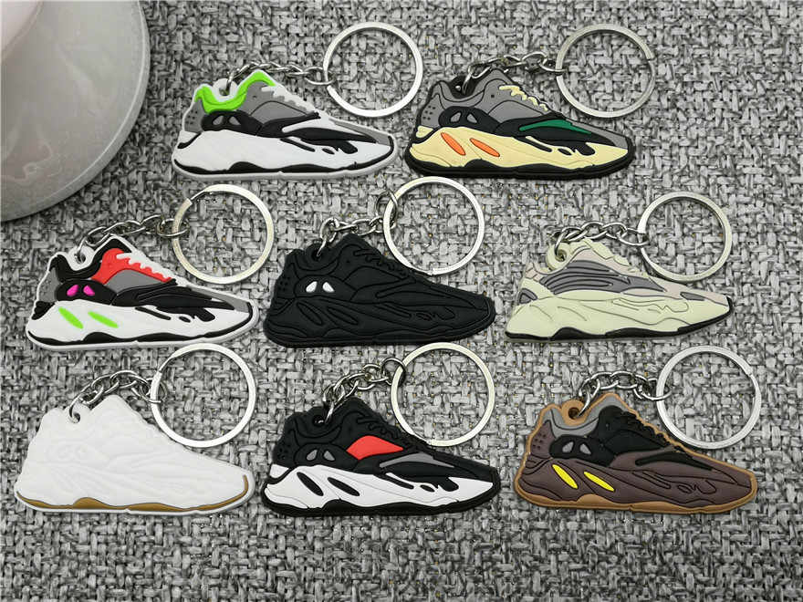 New Color Mini Silicone Cute shoe Keychain Woman Bag Charm Men Kids Key Ring Gifts Sneaker Shoes Boost 700 WAVE RUNNER Key Chain