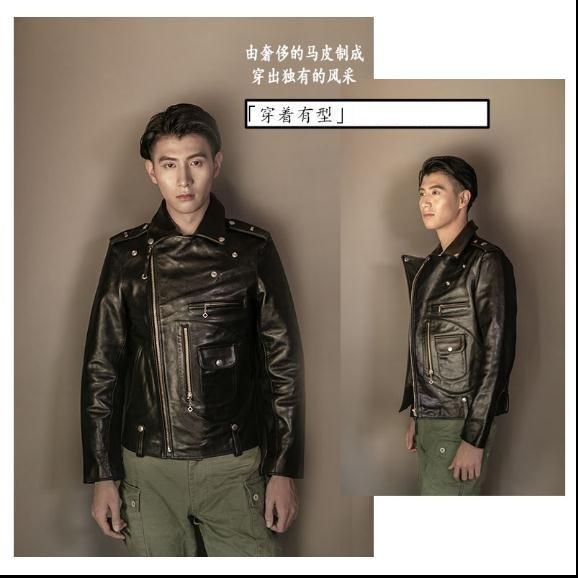 YR!Free shipping.Luxury japan Vegetable tanned batik horsehide jacket,vintage J24 motor style,Mens fashion genuine leather coat,