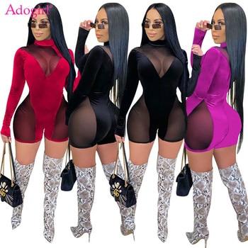 Adogirl Women Sexy Sheer Mesh Patchwork Velvet Jumpsuit Turtleneck Long Sleeve Skinny Shorts Romper Fashion Night Club Playsuit 1
