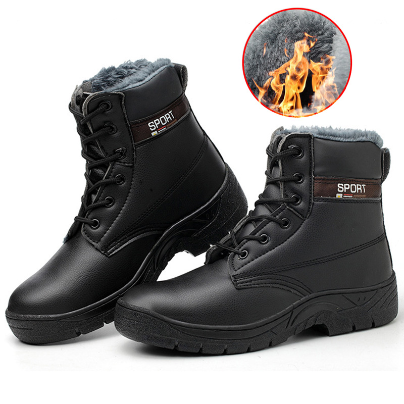 Work Safety Boots Plush Warm Men Boots Steel Toe Safety Shoes Winter Boots Men Ankle Boots Winter Shoes Men Shoes Free Shipping