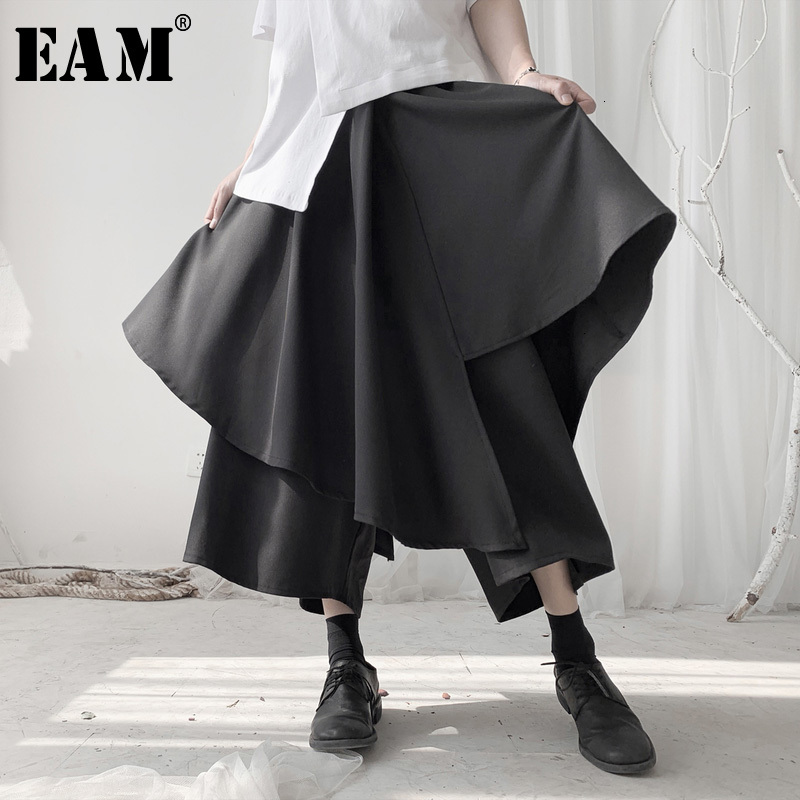 [EAM] High Elastic Waist Black Split Layers Wide Leg Trousers New Loose Fit Pants Women Fashion Tide Spring Autumn 2020 19A-a541