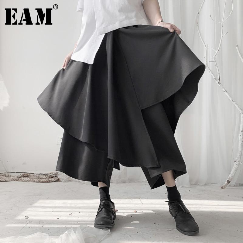 [EAM] High Elastic Waist Black Split Layers Wide Leg Trousers New Loose Fit Pants Women Fashion Tide Spring Autumn 2020 19A-a541